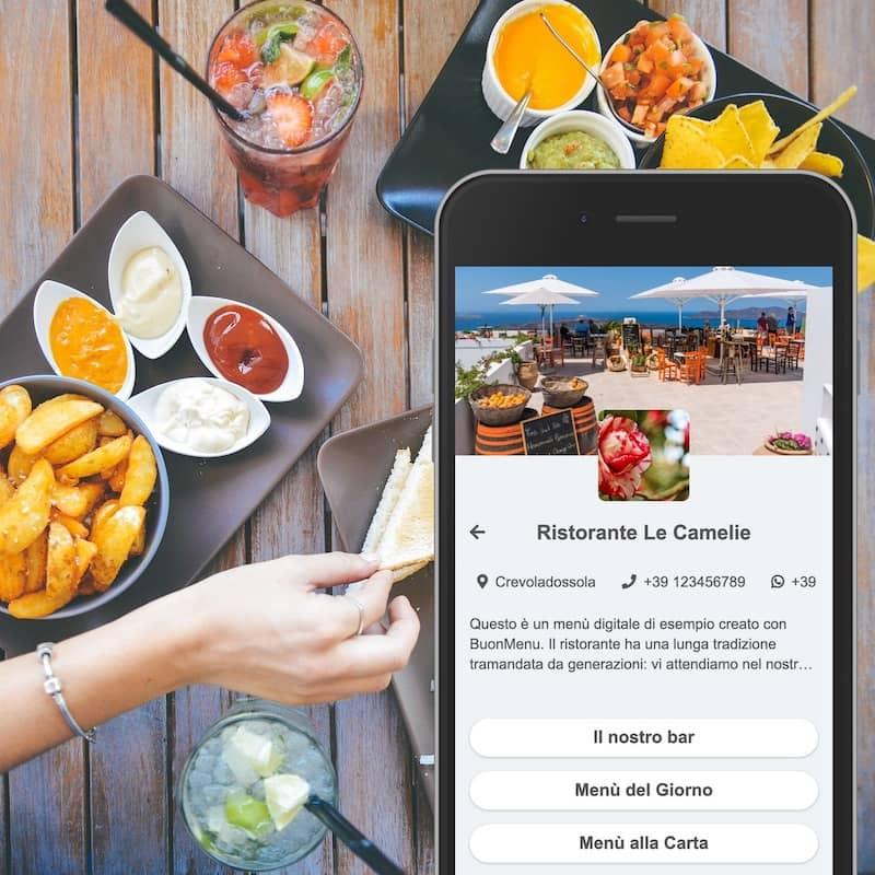 Menu numérique sur smartphone sur une table de restaurant
