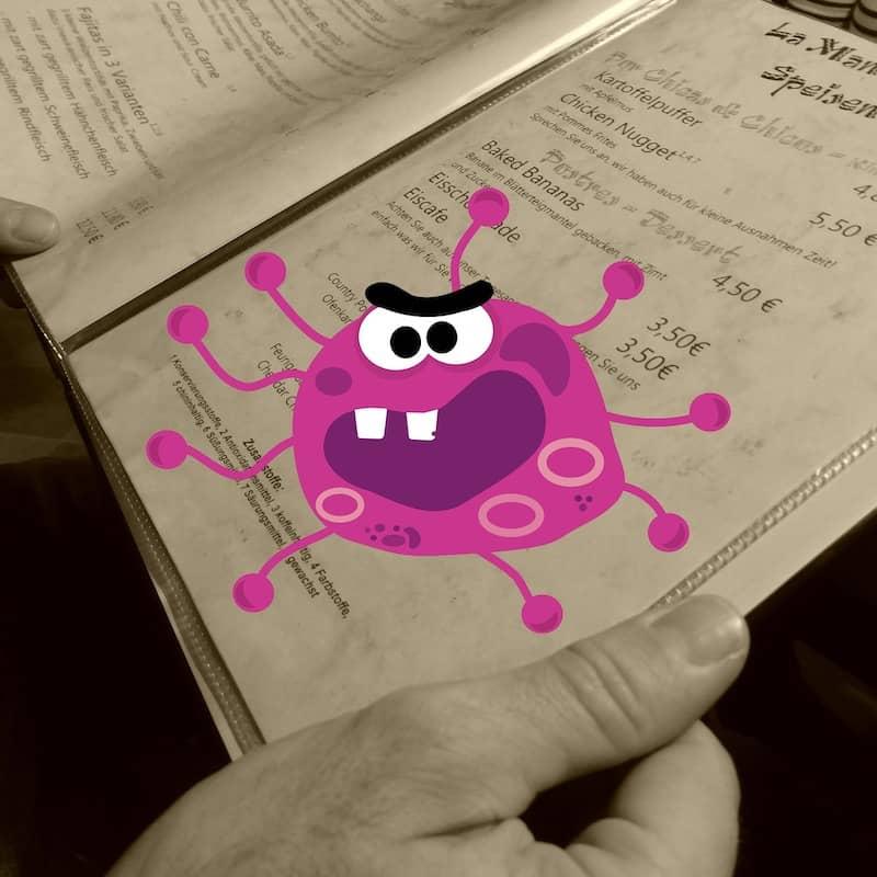 Menu papier sale avec Coronavirus