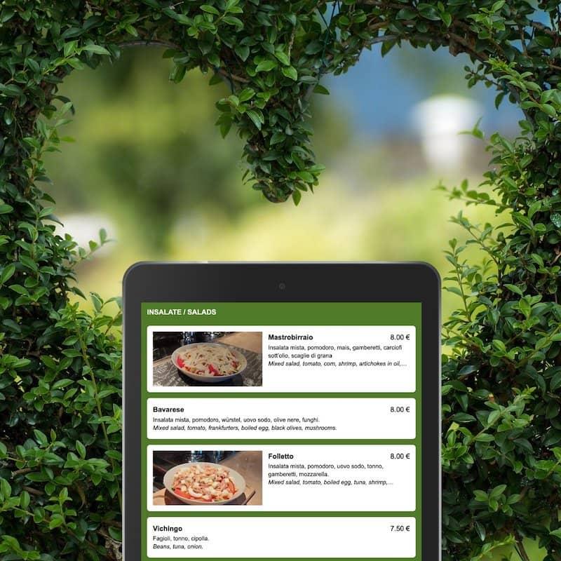 La nature aime les menus verts sur mobile