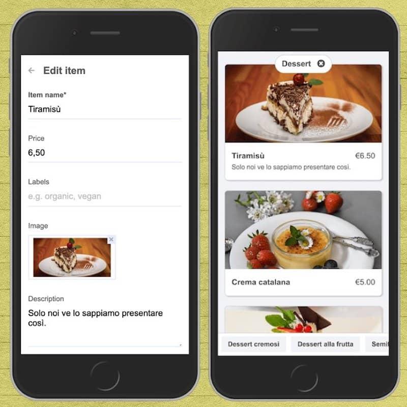 Mettre à jour un élément de menu à partir d'un mobile à l'aide du tableau de bord d'administration