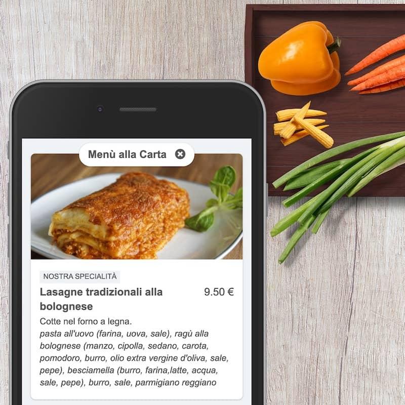 Menu numérique sur smartphone avec la description d'un plat et de ses ingrédients
