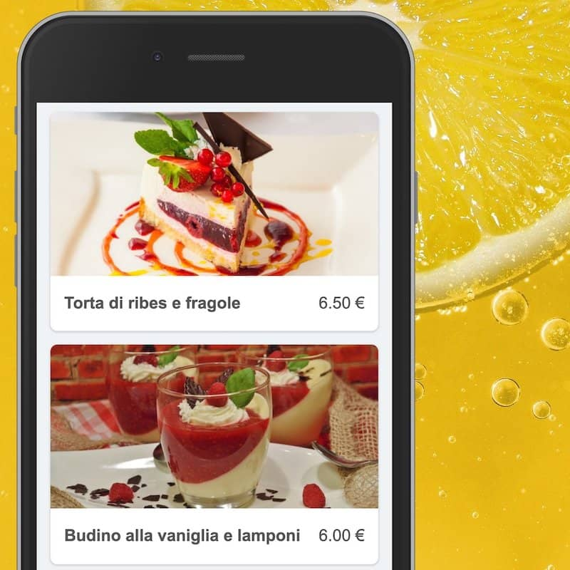 Menu numérique sur smartphone avec de grandes photos des plats