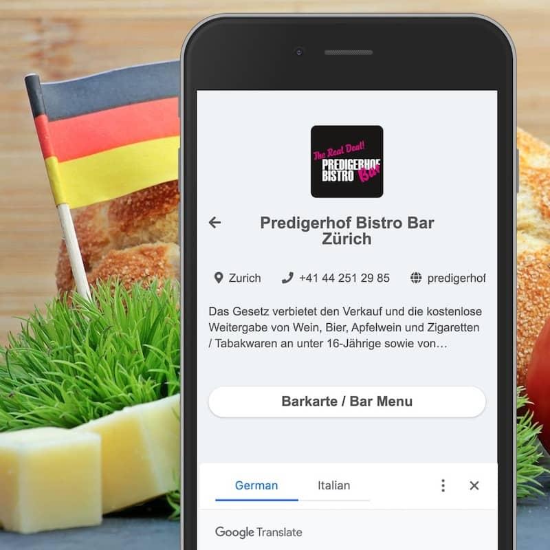 Menu numérique sur smartphone avec traductions automatiques