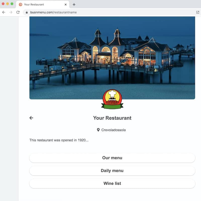 Un menu de restaurant ouvert avec Chrome