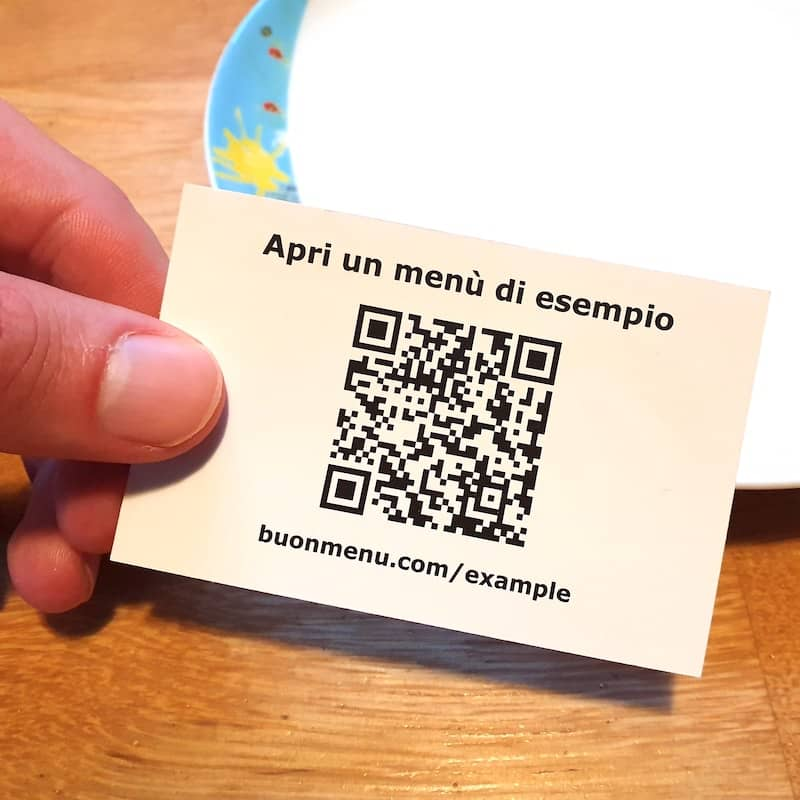 QR code per un menu digitale
