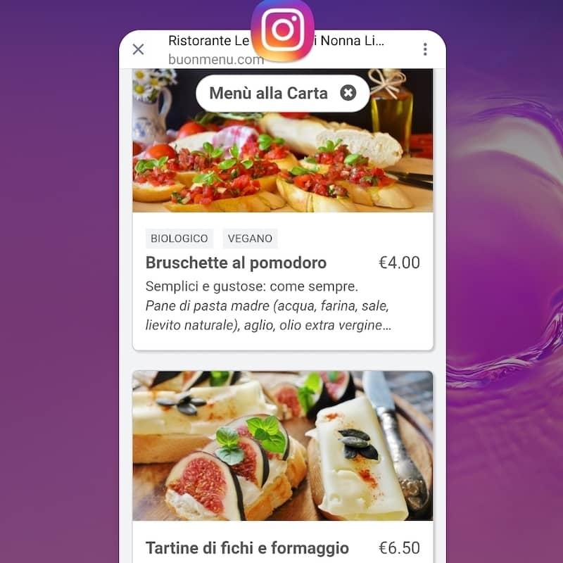 Menu en ligne d'un restaurant ouvert depuis Instagram