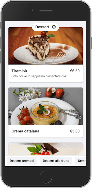 Restaurant menu on smartphone